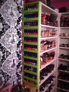 DIY nail polish rack on shoe shelves