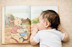 cute idea...and i can relate...i have honestly fallen asleep this way many times! newborn photography, newborn pictur, sleeping babies, newborn photos, baby pictures, baby books, winnie the pooh, baby photos, kid