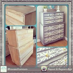 Upscaling dresser with Florentine Grill Border stencil | Royal Design Studio