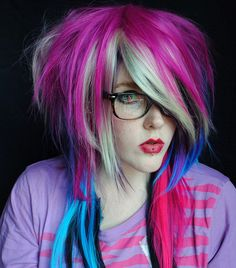 Summer SALE  Wildflower wig // Purple Blonde Blue Black Pink -- Scene Punk Hair
