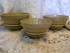1940s Watt Pottery yelloware bowls full set by TreasuresFromTexas, $98.00 bowl full, ware bowl