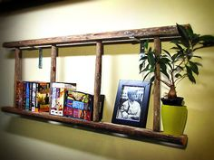 Rustic Wooded Ladder Bookshelf - 4 Rungs Apple Picking Ladder on Etsy, $120.00 ladder display wall, wood ladder ideas