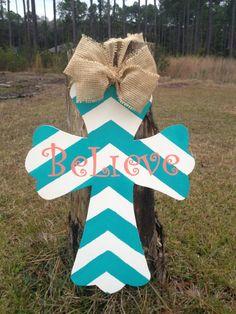 Chevron Striped Believe Burlap Cross