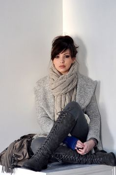 Scarf, boots, coat, color...love everything!