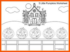 Five Little Pumpkins Song and Coloring Page For Kids.