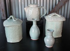 Celadon - Jon Loer 2013 - slab built tea pot and canisters, two wheel thrown bud vases