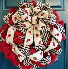 Ladybug Burlap and Chevron Wreath