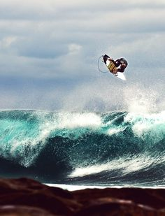 A surfer getting some serious air