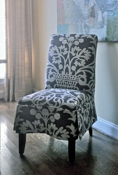 Slipcovered Parson's Chair, design by Elisha Howell, Fabrication by Camille Moore Window Treatments