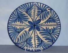 Gorgeous Blue and White Pottery Plate - Made in Spain.
