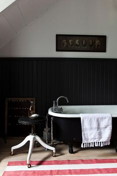 Black claw foot tub.