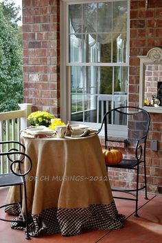 Beautiful burlap tablecloth from the blog Back Porch Musings