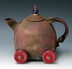 """Rolling Pot #6""  Ceramic Teapot  Created byRon Mello   Limited Edition  Raku fired stoneware"