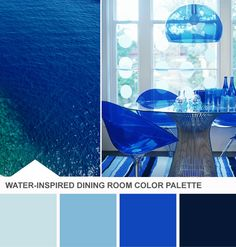 Tuesday Huesday: Water, Water Everywhere (http://blog.hgtv.com/design/2013/06/11/monochromatic-blue-dining-room-color-palette/?soc=pinterest)