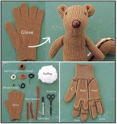 stuffed animal from a glove
