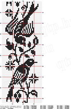 Birds runner free filet crochet chart
