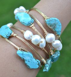 Gold wire wrapped bracelet bangle with turquoise stones by SunandStoneJewelry