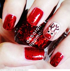 Reindeer Christmas Nail Art For Short Nails - Glitter Christmas Nail Art For Short Nails