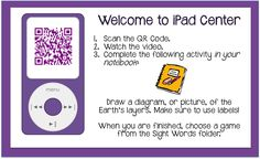 Looking for an easy way to organize your technology center or utilize a single iPad in the classroom? Try a center task card with QR codes.