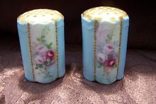 Sweet Victorian Bavarian Salt & Pepper Shakers decorated with Roses and Gold & signed 'Ruth M Fergenson''