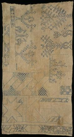Linen sampler embroidered with silk in double running stitch, by unknown maker, Egypt, 14th-16th century. Museum no. T.326-1921 Given by G. D. Hornblower, Esq