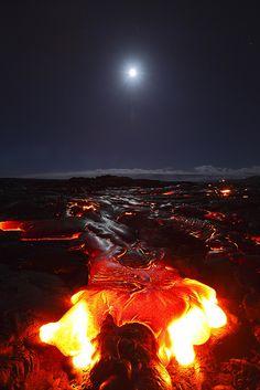Moon and Kilauea Volcano, BIg Island, Hawaii, by Toshi Sasaki