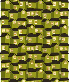 houses, fabric patterns, house print fabric, green, fabric illustration, fabric collect, hous print, mokki hous, marimekko fabric