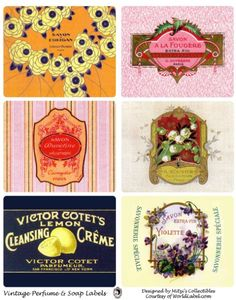 Vintage French Perfume & Soap labels. soaps, vintage labels, printable labels, soap label, victorian printabl, free printabl, vintag label, pantri printabl, soaplabel