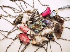 crystal bomb necklaces by Debra Baxter