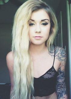Skull And Roses Shoulder Tattoo
