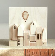 Miniature wood wall town by saysthetree / etsy