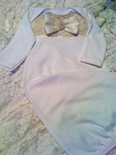Girls Layette gown sleeper for baby girl Newborn thru 3 months via Etsy