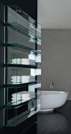 Clean and sleek bathroom glass storage, Shy light & cubo by Rifra _