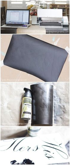 Spray Paint your Vinyl to match any finish in your home!  Click here to see how!  Works with Silhouette Cameo or Cricut!