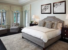 master bedroom - gray + white = soothing
