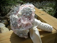 Ivory & Ice Pink Large Satin Rose Brooch by EleganceOnTheAvenue, $525.00