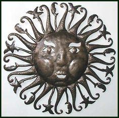 "Handcut Haitian Sun Design - Celestial Steel Drum Art Wall Decor - 24"" - $84.95 -  Steel Drum Metal Art from  Haiti - Interior or Garden Décor   * Found at  www.HaitiMetalArt.com"