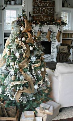 burlap christmas, ribbon, christma decor, christmas tree decorations, christma tree, rustic christmas, happy holidays, mantl, christmas trees