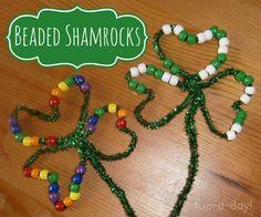 Fine Motor Skills for St. Paddy's Day - Beaded Shamrocks