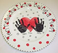 Pottery painting ideas on pinterest pottery painting for Handprint ceramic plate ideas