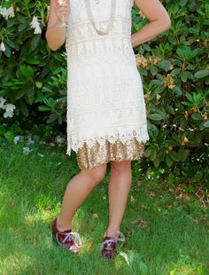 Slip Extender Skirt Extender, Women's Dress Accessory: Gold Sequin Outskirt on Etsy, $52.00