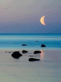 moon, blue, la luna, sunset, the ocean, at the beach, sea, beauti, place
