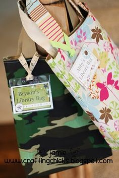 library bags with  card holders. Love this idea