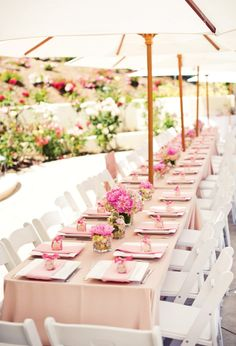 wedding tables, table settings, umbrellas, outdoor parties, pink, shower idea, long tables, baby showers, bridal showers