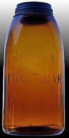 Mason's A half-gallon embossed Mason Fruit Jar in amber with ground lip