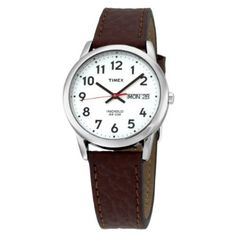 $27 Timex Men's T20041 Easy Reader Brown Leather Strap Watch: Watches: Amazon.com