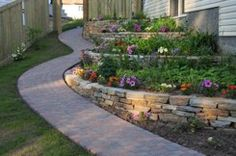 Cobble stone paving stones with natural ironstone wall.   Terraced option for front yard.