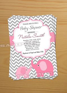 Chevron Girl Baby Shower Invitation Elephant Baby