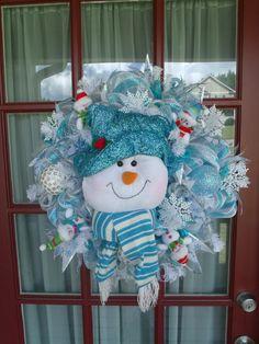 Christmas Blue and White Snowman Deco Mesh Wreath