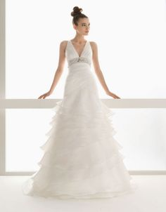 V-neck A-line organza bridal gown
